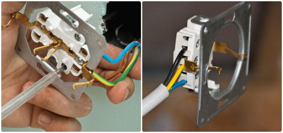Подключение провода заземления в розетке