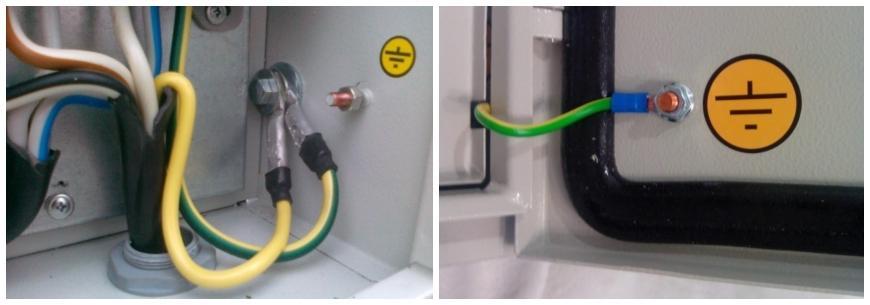 Знак заземления внутри и на дверце электрического щитка