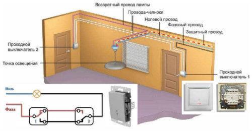схема электропроводки помещении проходными выключателями