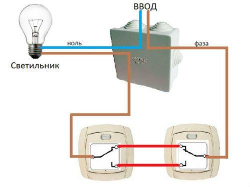 Наглядная схема с двумя проходными выключателями