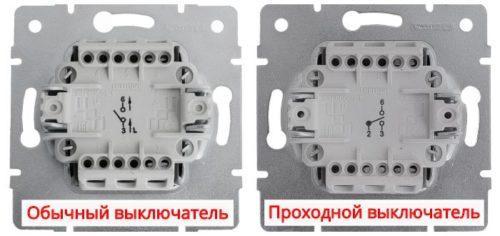 Обозначение клемм на тыльной стороне выключателей