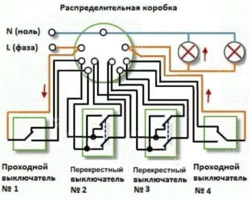 схема соединения четырех выключателей в распредкоробке