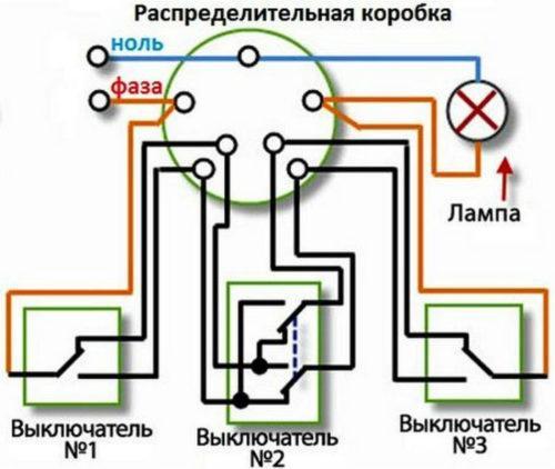 Сборка схемы трех выключателей в распределительной коробке