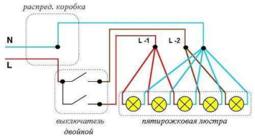 Схема подключения люстры на пять лампочек к двойному выключателю