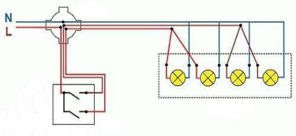 Схема подключения люстры с четырьмя лампочками на двойной выключатель
