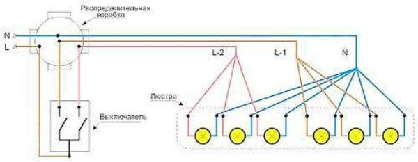Схема подключения люстры с шестью лампами на двойной выключатель