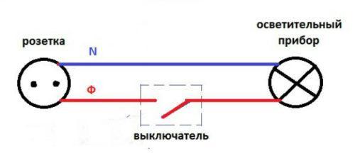 Простая схема подключения светильника от розетки через выключатель