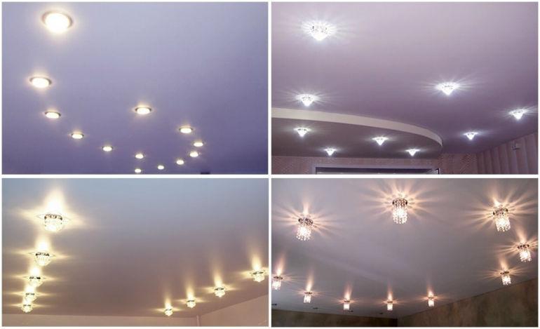 Примеры освещения с точечными светильниками. Фото