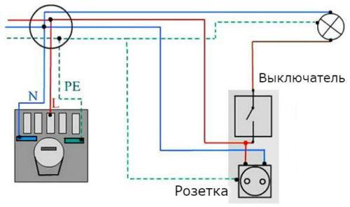 Схема подключения светильника через выключатель в блое розетка-выключатель в одном корпусе