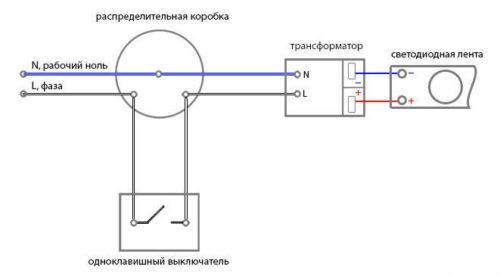 Схема подключения светодиодной ленты через одноклавишный выключатель с понижающим трансформатором (блоком питания)