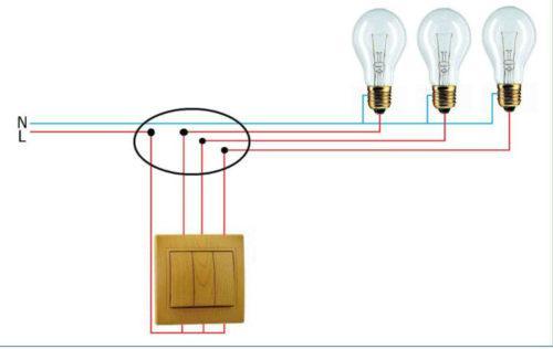 Схема подключения трех лампочек через трехклавишный выключатель