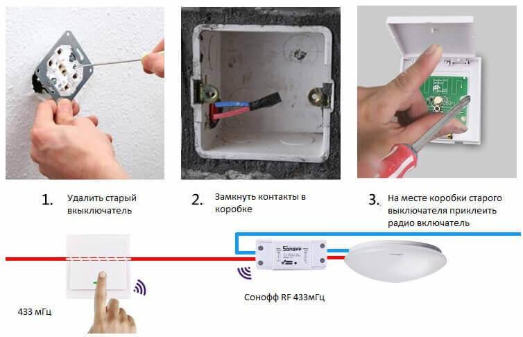 схема подключения wi-fi реле и радио выключателя