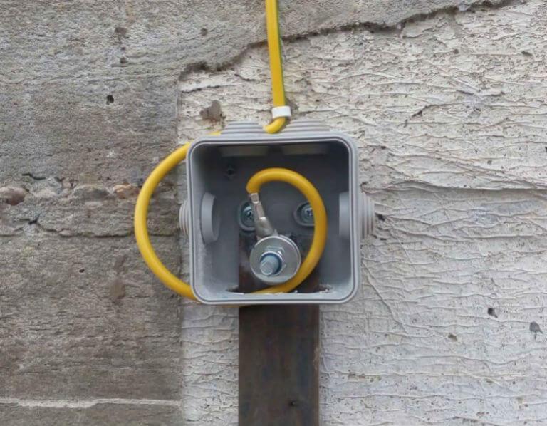 соединение медного проводника с контуром заземления