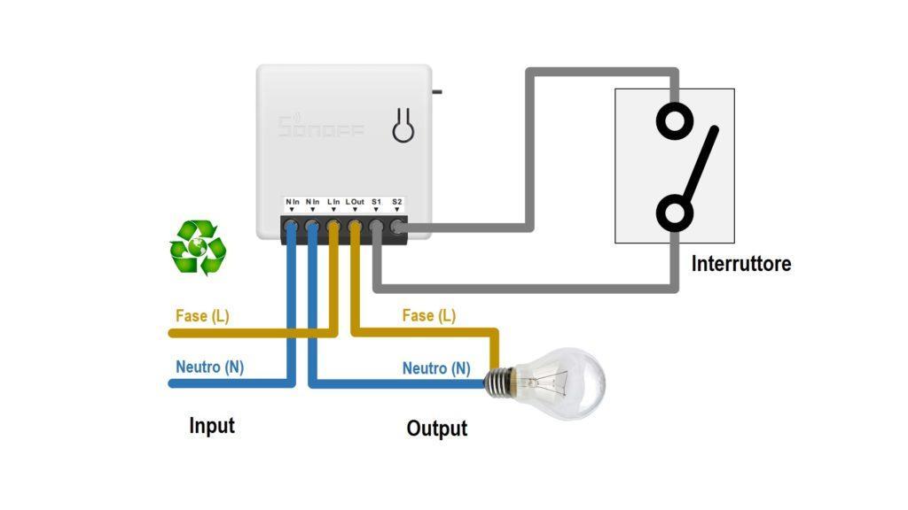 Схема sonoff-mini - выключатель