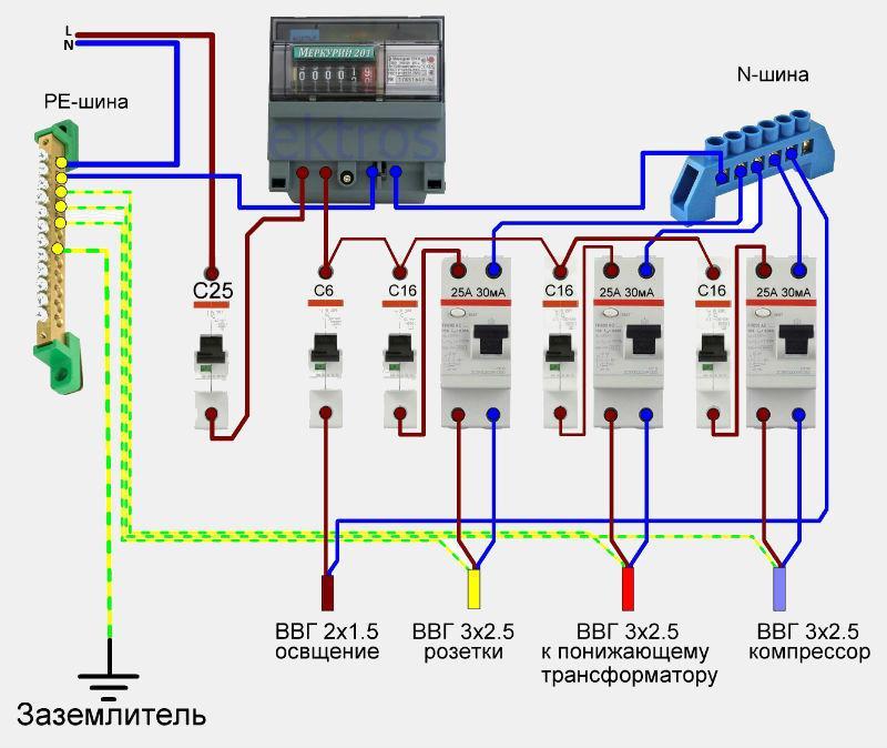 Схема электрощита для гаража