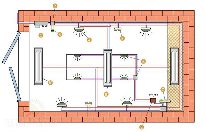 Схема установки электрооборудования в гараже