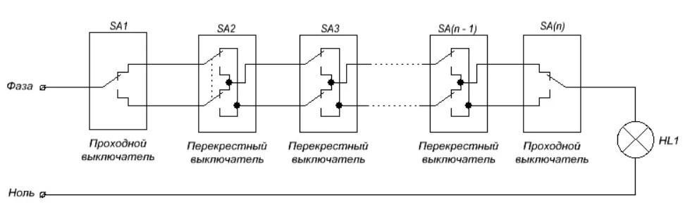 Схема управления одной группой светильников из 5 мест