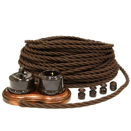 Ретро провод витой Винтаж 3х2,5 коричневый