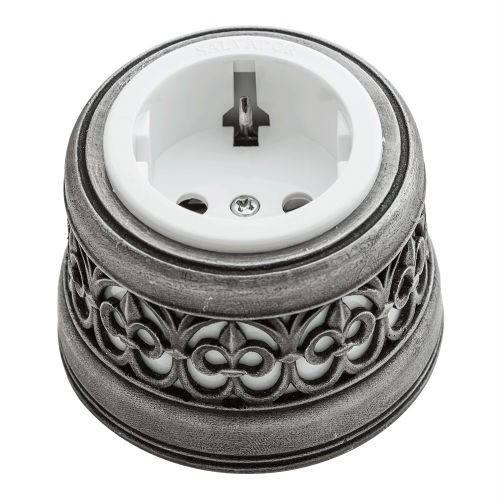 Розетка с декоративной накладкой Серебро