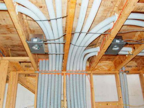 скрытая электропроводка в каркасном дома