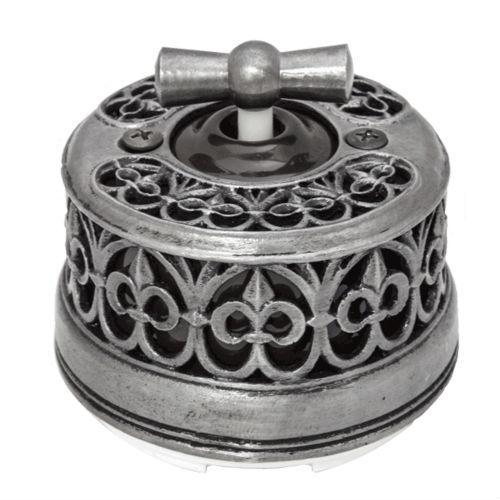 Выключатель с декоративной накладкой серебро