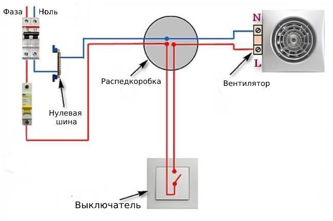 Схема подключения вентилятора через выключатель